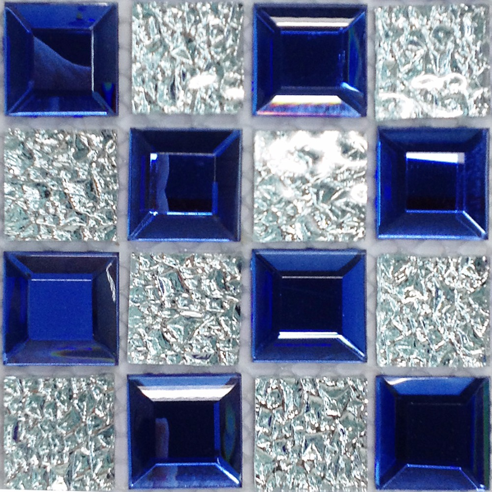 Tst Sea Blue Glass Tile Sample Mosaic Beveled Diamond Silver Wall