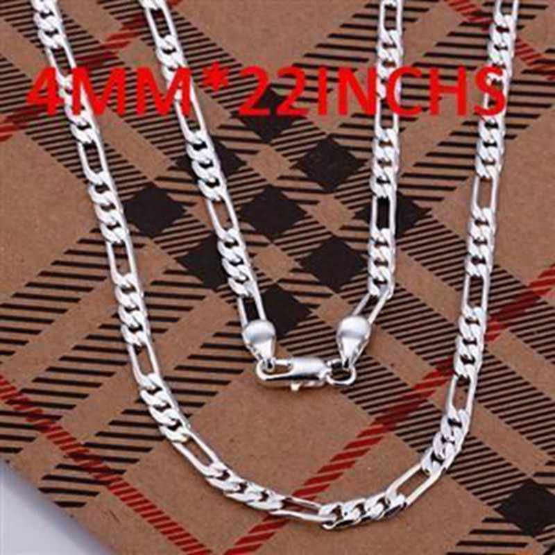 Zilveren Ketting Hanger, 925 sieraden verzilverd Ketting 4mm Necklace-22 inches N102-22/VZRTWKWE NKOCAUNX