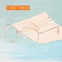 Toketorism  montura de Metal dorado rosa  gafas redondas  luz azul  gafas de ordenador  marcos de gafas vintage para mujer  6213|Gafas protectoras para luz azul de mujer|Accesorios para la ropa -