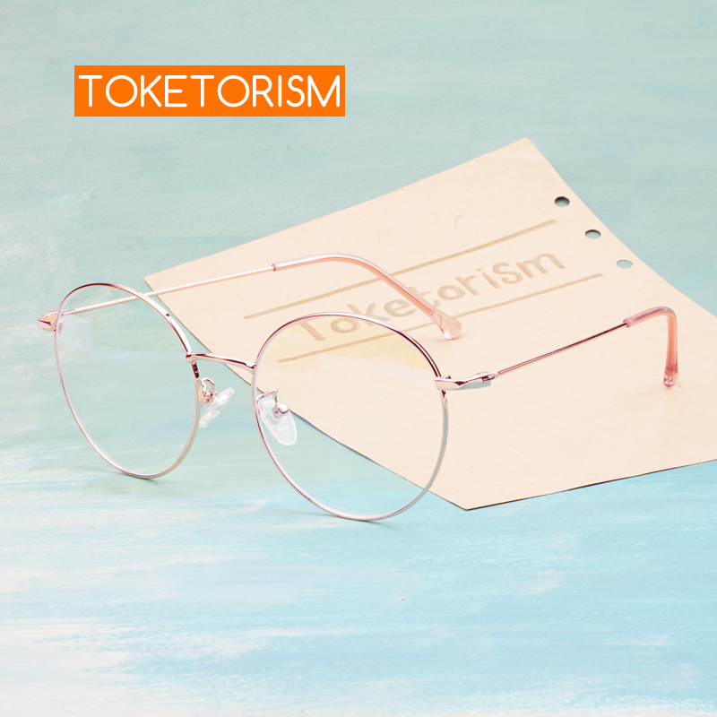 Toketorism Rose Gold Metal Frame Round Glasses Blue Light Computer Glasses Women's Vintage Spectacle Frames 6213
