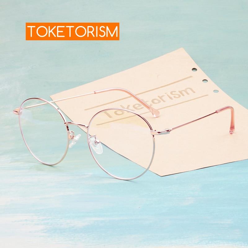 Toketorism Rose Gold Metal Frame Round Glasses Blue Light Computer Glasses Women's Vintage Spectacle Frames 6213