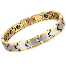 Mens Bracelet Womens  Fashion Tungsten Steel Rose Plating Gold Magnetic Health Care Couple BF001.