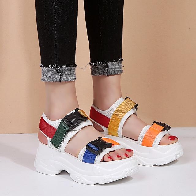 Sandalias de plataforma de Mujer de Nueva moda de 2019 para Mujer zapatos casuales de cuña de Punta abierta Mujer Sandalias negro blanco