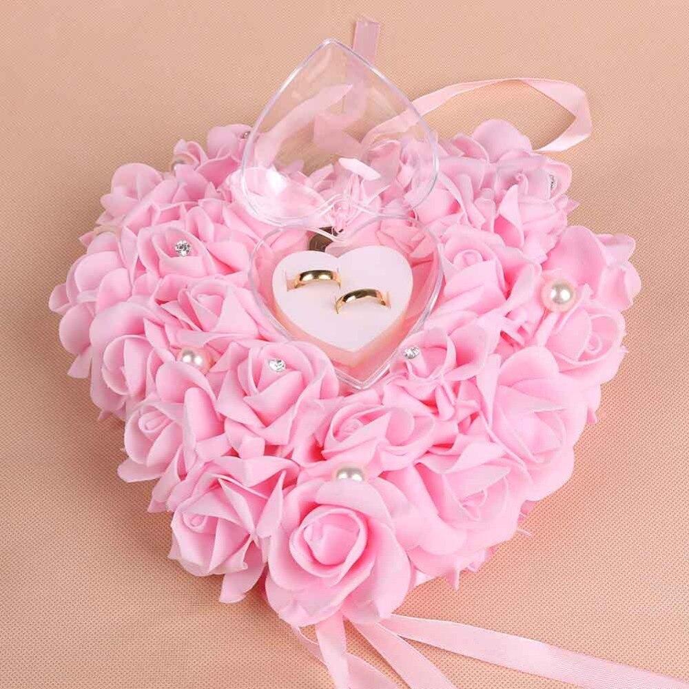 Wedding favors ring box Elegant lace rhinestone heart rose unique ...