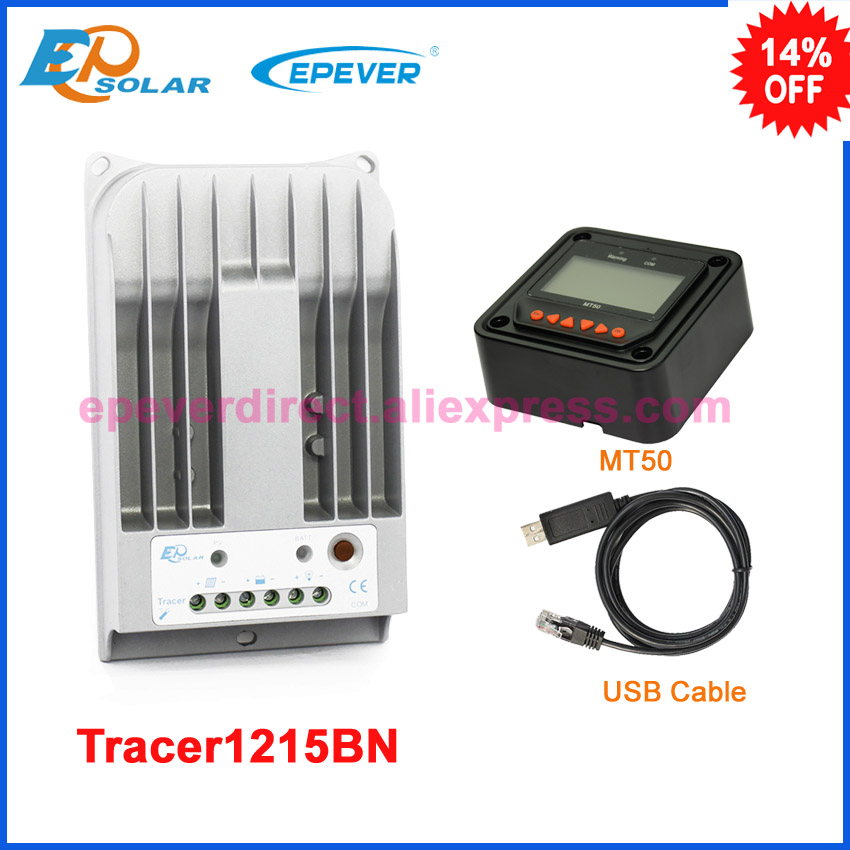 Home mppt solar portable controller EPsolar 10A 10amp Tracer1215BN with MT50 meter and USB PC cable connect software цена