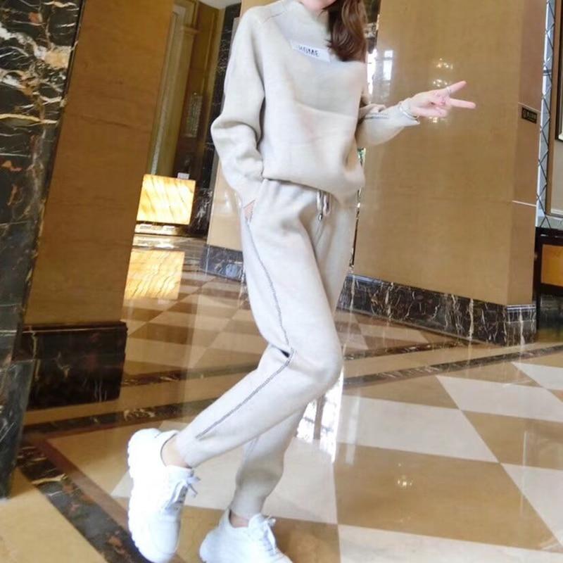 Casual Automne Tricot pièce Deux Costume Épais Et Nouvelle Hiver Harlan Lâche Cachemire Chandail Pantalon Femelle xgwAxPSqr