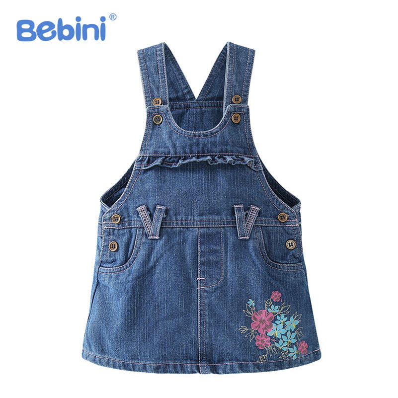 BEBINI Baby Girls Denim Dress Overalls 2017 New Spring Autumn Summer 0-3Y Kids Girl Jean Dresses Flower Printed Children Clothes distrressed girls dress summer 2016 new arrival pink ripped denim dress for kids sleeveless solid casual girls overalls dress