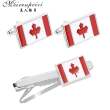 цена на Meirenpeizi Luxury Tie Clip Cufflinks For Mens Canadian flag Cufflinks High Quality Tie Pin Cuff Links Set Tie Bar Men Jewely