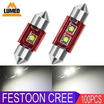 100x Car Festoon C5W LED 1smd 2smd Interior Dome Lamp Reading Light 31mm 36mm 39mm 42mm