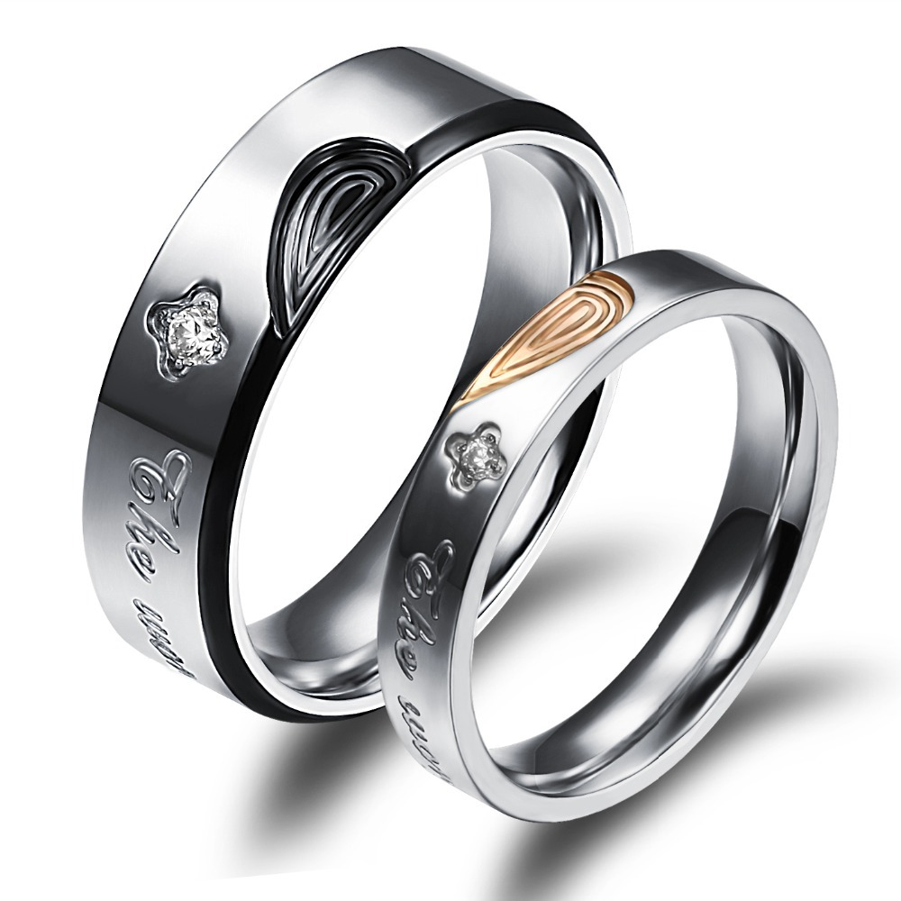 Great Hot Sale Fashion Jewelry Loversu0027 Promise Couple Wedding Rings Classical  Half Heart Puzzle Stainless Steel