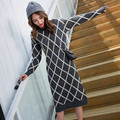 Oversized Long Sleeve Sweater Women 2016 Autumn Winter Fashion New Plaid Long Pullovers Female Knitwear Women's Clothes 4050