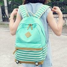 Canvas Backpack Striped Women Bagpack Teenagers Backpacks For Teenage Teen Girls Youth Feminine Backpack Girl Mochila Feminina