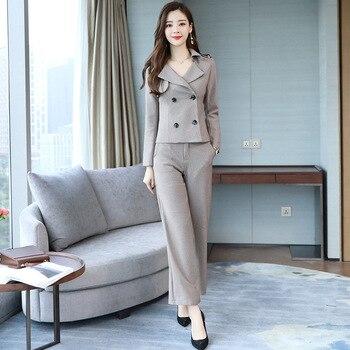 Women's elegant fashion temperament slim suit two-piece suit (jacket + pants) women's business office professional formal suit