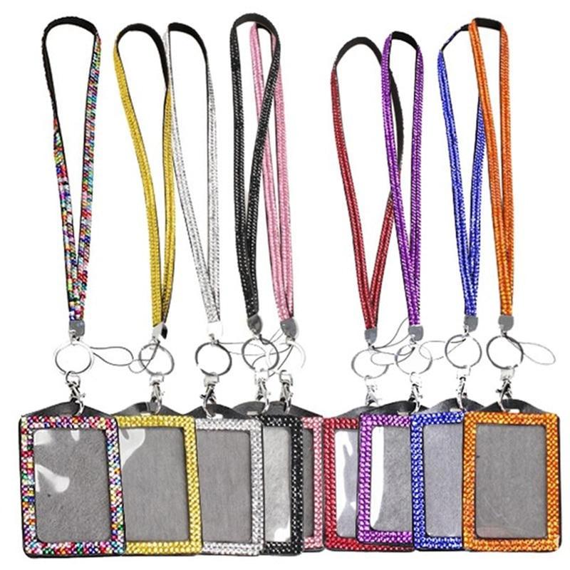 50pcs lot Rhinestone Bling Lanyard with Vertical PU ID Badge Card Holder and Key Chain Fashion