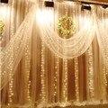 3 М х 3 М Новогодние Гирлянды СВЕТОДИОДНЫЕ Строки Огни Новый Год фея Xmas Garden Party Свадебные Украшения Занавес фея Света 220 В только