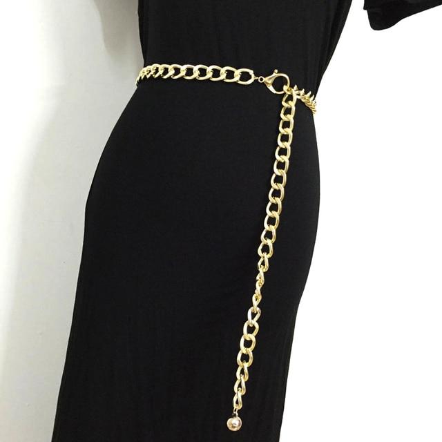 af618a7c361b 2018 Fashion Metal Waist Chain belts cummerbunds for women girls gold color  thick causal punk cool hip hop long waistband