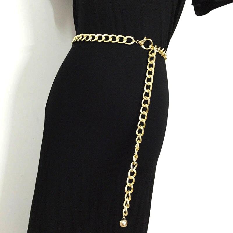 2018 Fashion Metal Waist Chain   belts   cummerbunds for women girls gold color thick causal punk cool hip hop long waistband