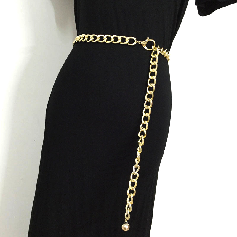 2019 Fashion Metal Waist Chain   belts   cummerbunds for women girls gold color thick causal punk cool hip hop long waistband