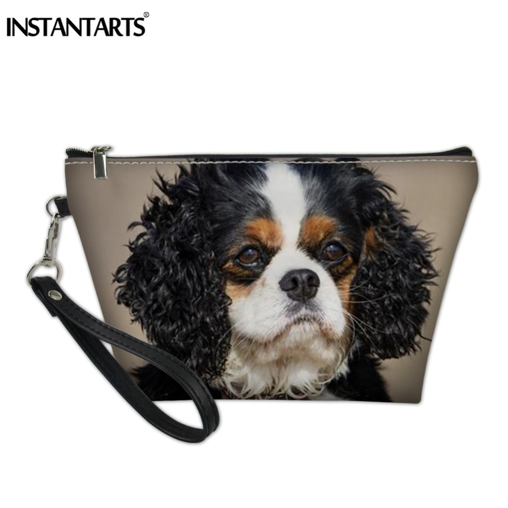 INSTANTARTS Charles Spaniel Dog Print Women Cosmetic Bag PU Travel Organizer Pouch Handbags Girls Make Up Potable Storage Bags