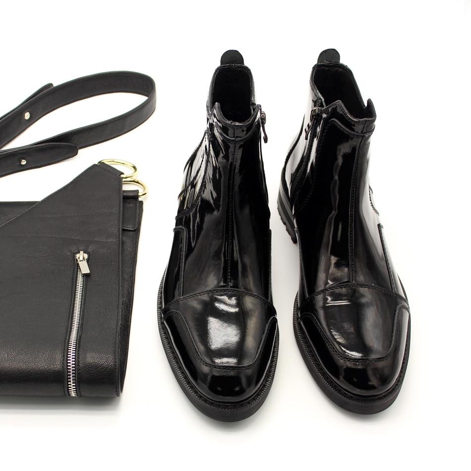 Or Noir haut de gamme en cuir Verni Mode Hommes Bottes Fermeture Eclair Dorsale Moto Bottes - 3