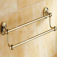Bathroom Accessory Polished Golden Brass Wall Mounted Bathroom Double Towel Bar Towel Rack Towel Rails Aba102