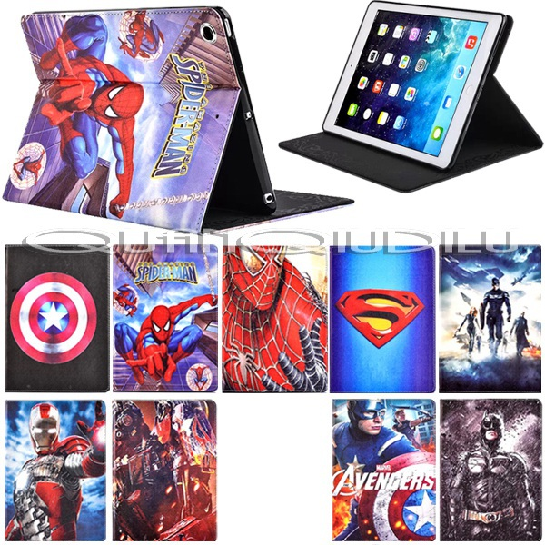 Pad mini 2 Case Spider-Man superman Captain America Avengers Iron Man Batman Folding cover Magnetic - quanqiudilu store
