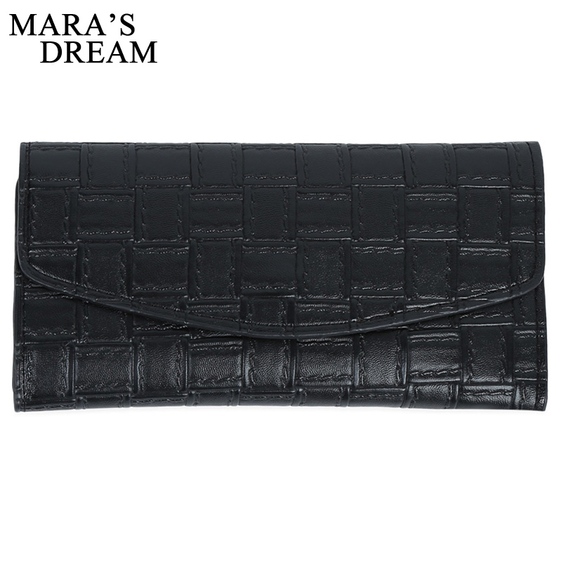 Mara's Dream Solid Color Knitting Plaid Long Wallet Hasp PU Leather Women Credit Card Holder Money Bag Elegant Ladies Slim Purse casual weaving design card holder handbag hasp wallet for women