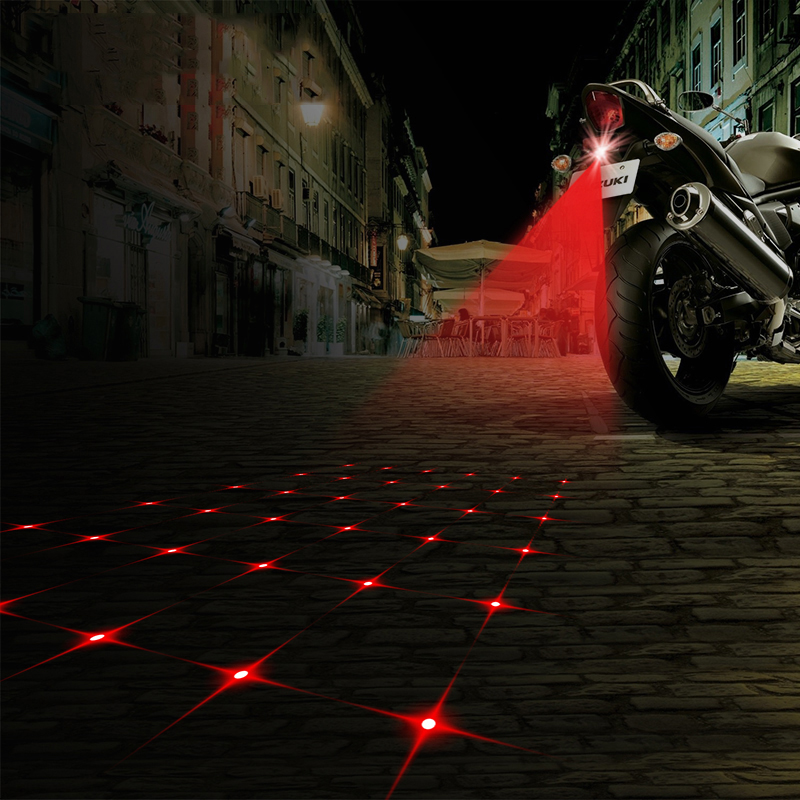 Free Shipping Anti Collision Rear-end Motorcycle Rear Fog Light Warning Brake Parking Light Lamp 12v DC 8 Patterns Available