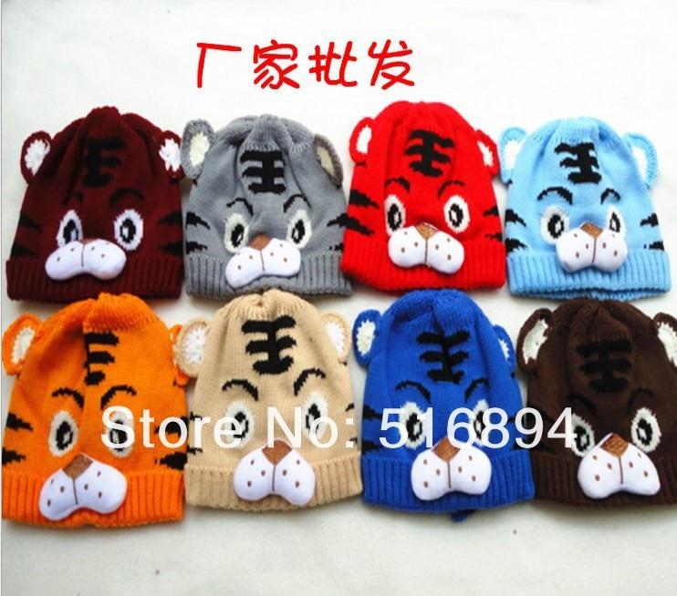 10 шт./партия, популярная детская хлопковая шапка, милая шапка с изображением тигра, вязаная шапочка вязаная бини для мальчиков и девочек,, 8 цветов