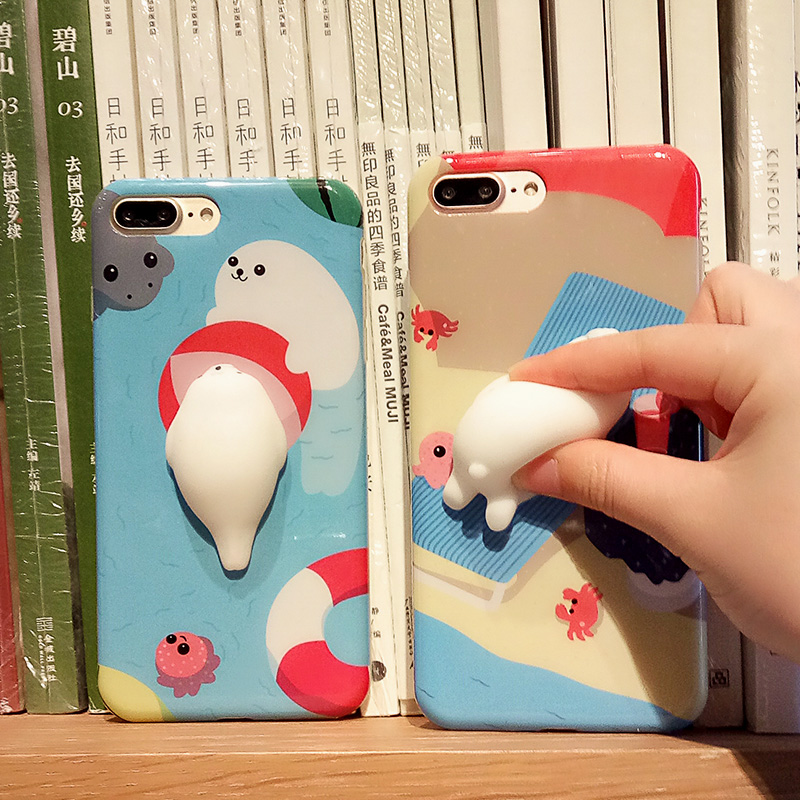 check out 34672 b3617 3D Cartoon Ushihito Kawaii Squishy Animals Soft Protective Phone Case Cover  For iPhone 6 6s Plus 7 Plus Fashion Back Cover Coque