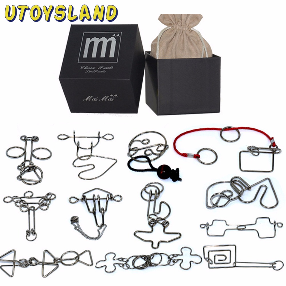 UTOYSLAND 12pcs/set Metal Puzzle Wire IQ Mind Brain Teaser Puzzle Kids Game Toys for Children Adults Baby Montessori Toys 28 32pcs per set iq metal puzzle mind brain teaser magic wire puzzles game toys for children adults kids