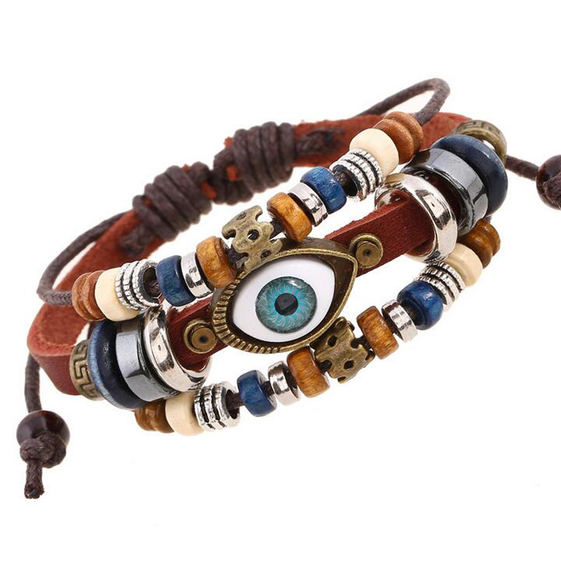 2 Style Vintage Evil Eye Bracelet Multi Layer Genuine Cowhide Leather Charm Bracelet Cuf ...