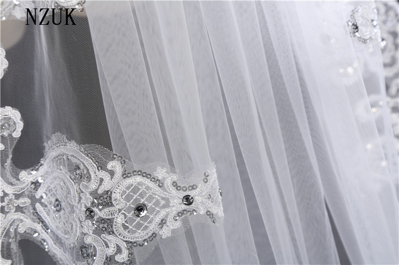 Nzuk free shipping new arrival white ivory luxury sequins lace