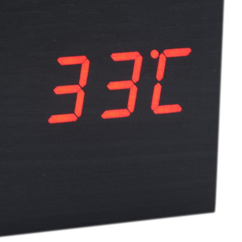 2019 Fashion Hgho-wood Cube Led Alarm Control Digital Desk Clock Wooden Style Room Temperature Black Wood Red Led With The Best Service