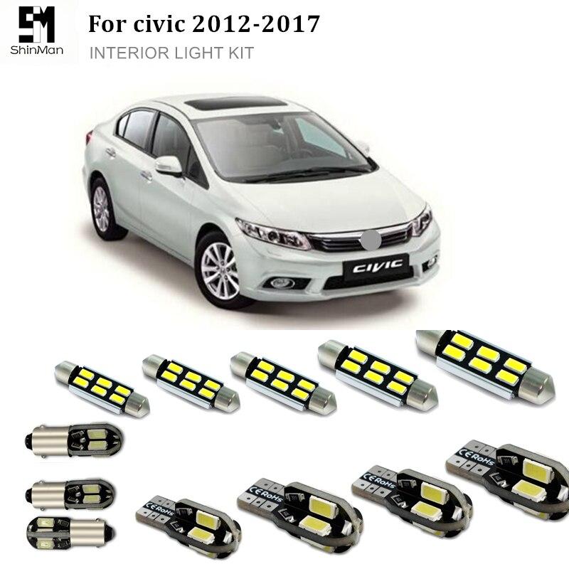 Shinman 6pcs canbus error free led interior light kit package for honda civic 2012 2017 for 2012 honda civic interior accessories