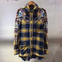 Dressnow plaid long blouse for women spring 2018 long sleeve blouse fashion beading blouse