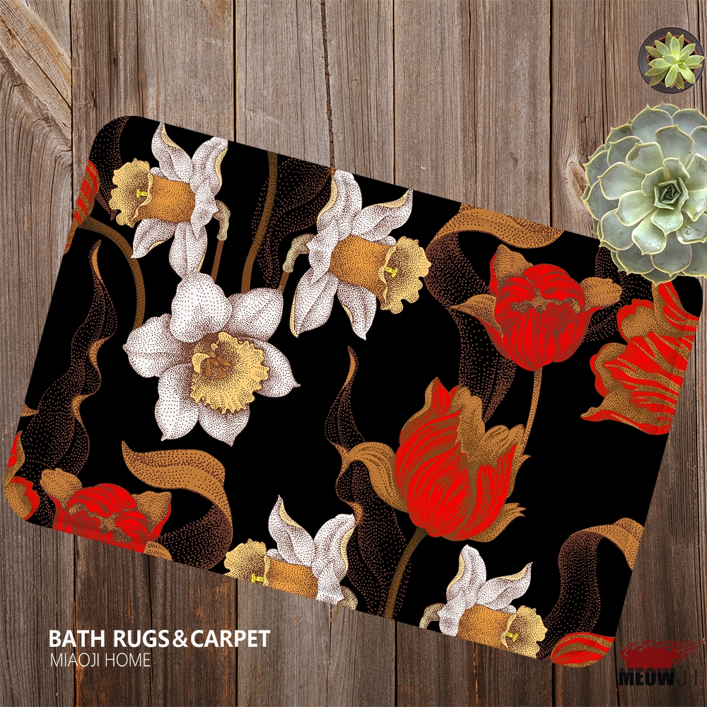 [MIAOJI] The Royal Luxury Noble Flower pattern Soft Feet Dust Rub Carpet Doormat Bath Mat Absorbent Non-Slip