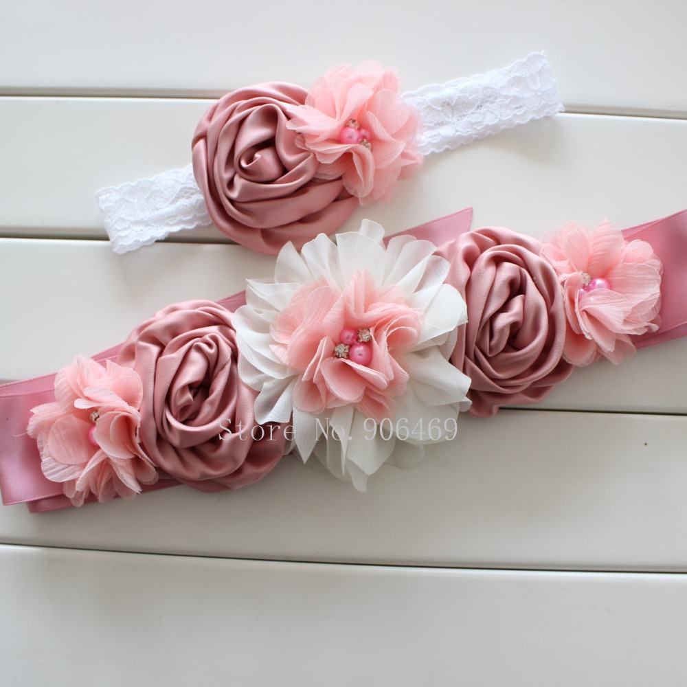 Fashion Vintage Pinkivory Flower Beltgirl Woman Sash Belt Wedding