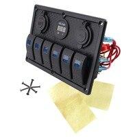 Waterproof IP68 Breaker Panel LED Backlight 6 Gang LED Rocker Switch Panel Circuit Breakers Charger 12V