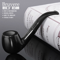 Smoking pipe briar tobacco black handmade pipe exquisite solid wood smoking pipe glossy old fashioned s pipe Chinese specialty