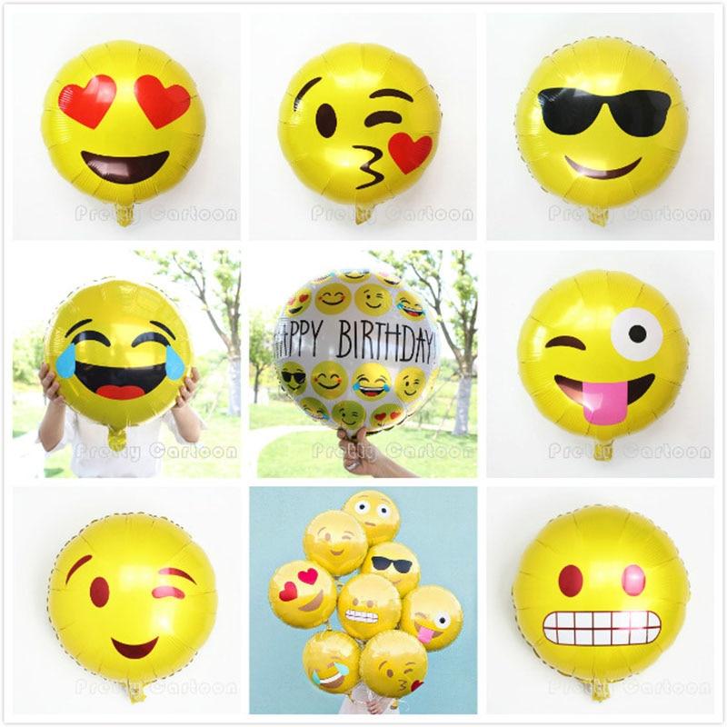 5pcs/lot Emoji Foil Balloons Cool/love/kiss/naughty