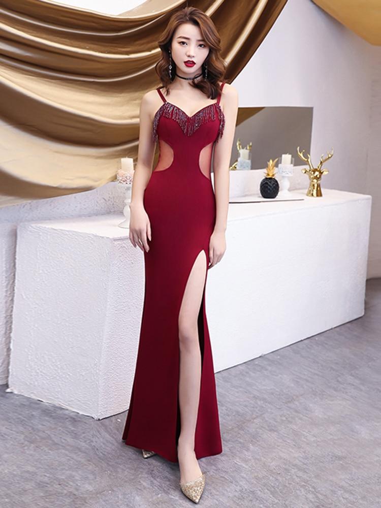 Robe De soirée longue Robe De soirée perles col en V sirène Split formelle élégante longue femmes robes De soirée Robe De bal