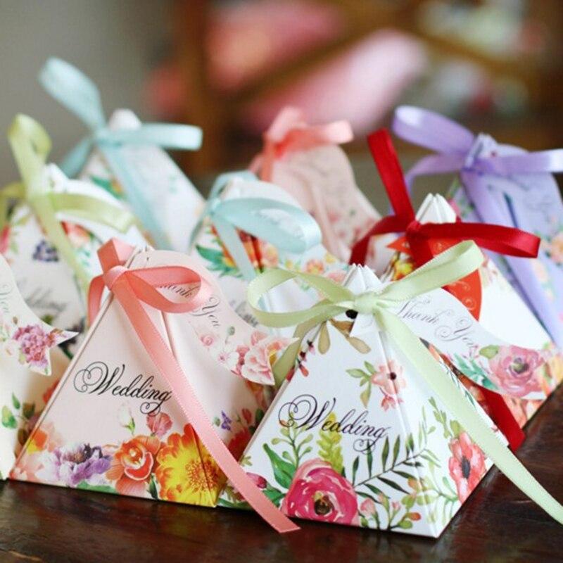 50pcs/set European Pyramid Candy Box Organizer 5 Colors Triangular Ribbon Wedding Sweets Gift Bag For Wedding Favor Supplies