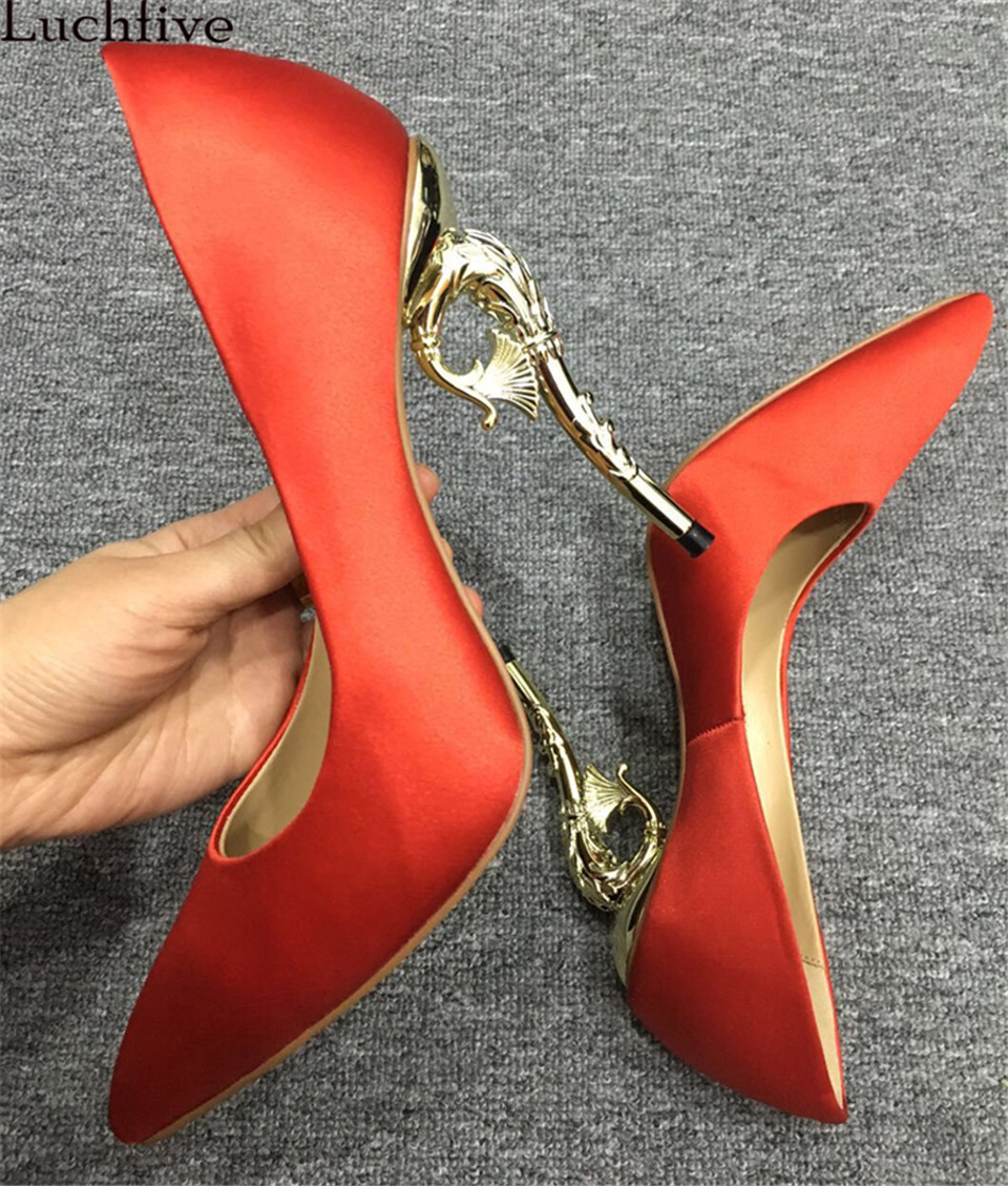 Luchfive Candy color pumps pointed toe solid silk silver golden hippocampus meatl high heels stiletto bridal wedding shoes women