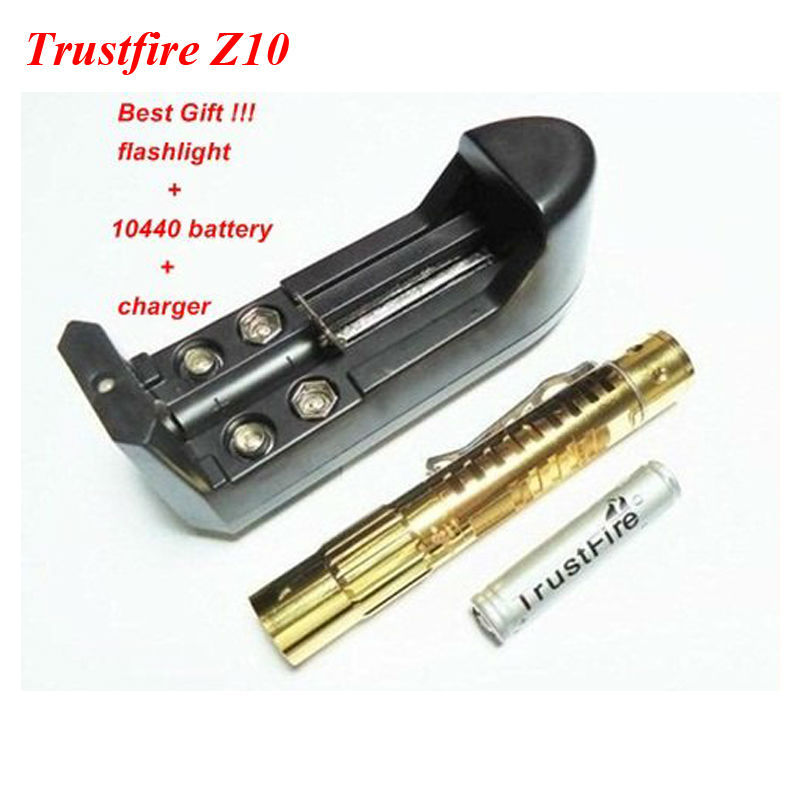 TrustFire TR-Z10 CREE XP-E R2 5-Mode 150LM Gold-Plated LED Flashlight + 1xTrustFire 10440 Li-ion Battery+1xCharger+Gift Box ultrafire xl e2 150lm 3 mode white zooming flashlight w cree xp e r2 grey 1 x 18650