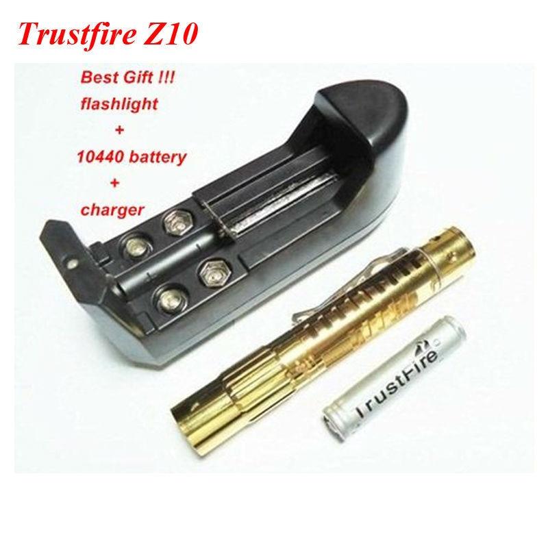 TrustFire TR-Z10 CREE XP-E R2 5-Mode 150LM Gold-Plated LED Flashlight + 1xTrustFire 10440 Li-ion Battery+1xCharger+Gift Box singfire sf 713 180lm 3 mode white flashlight w cree xp e r2 grey 1 x 18650