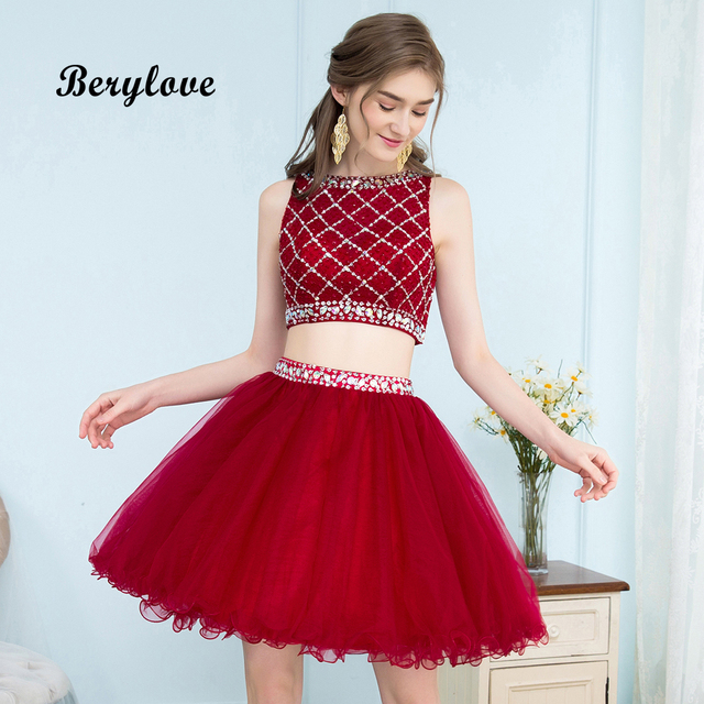 Short Dark Red Homecoming Dresses Two Piece Mini Beaded Tulle Homecoming  Gowns Short Prom Dresses Two Pieces Graduation Dresses d685ddca3