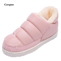 Winter Lovers PU Leather Home Cotton Slippers Men And Women Thick Bottom Non Slip Waterproof Thermal