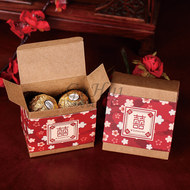 Chinese Wedding Candy Box Red Double Happiness Square Kraft Paper Hi Word Flower Blossom Print Chocolate Bag Party Gift Decor