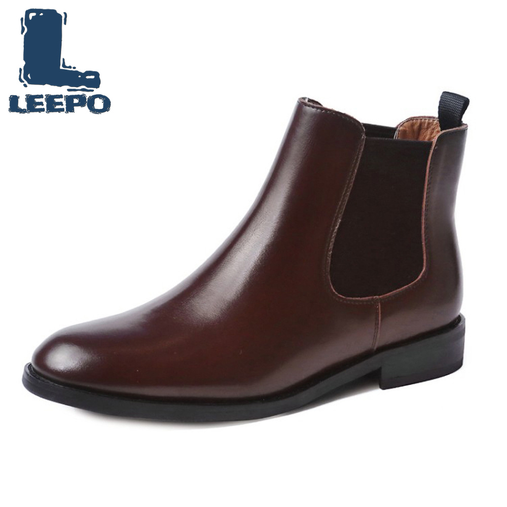 LEEPO Chelsea Boots Women Genuine Cow Leather Round Toe Ankel Boots for Women Black Autumn Booties
